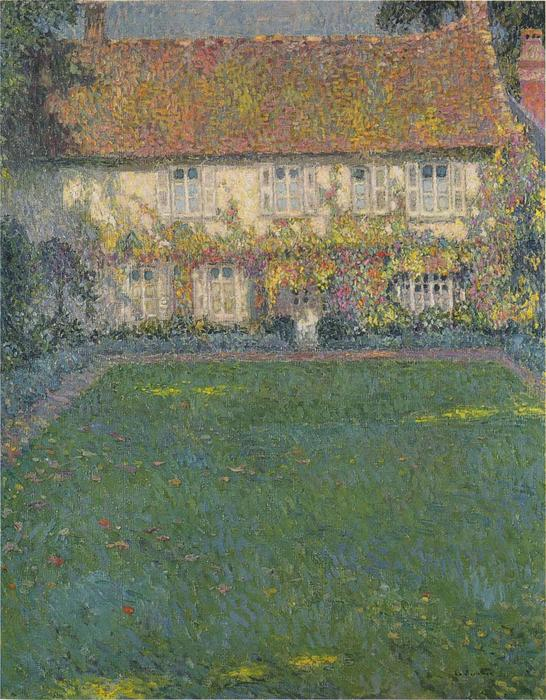 The House in Autumn, Oil On Canvas by Henri Eugène Augustin Le Sidaner (1862-1939, Mauritius)
