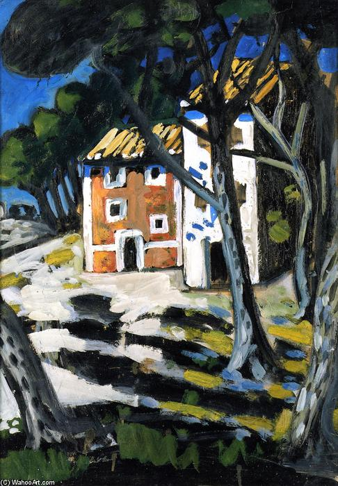 House in the Forest, Oil On Panel by Auguste Chabaud (1882-1955, France)