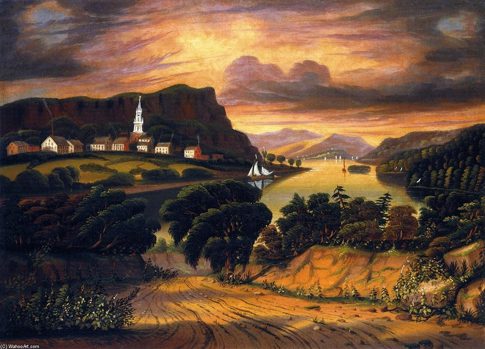 The Hudson Valley, Sunset, Oil On Canvas by Thomas Chambers (1808-1869)