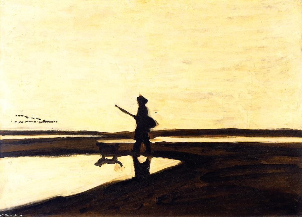 A Hunter and His Dog in the Camargue, Oil On Panel by Auguste Chabaud (1882-1955, France)