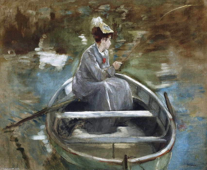 In The Boat, Oil On Canvas by Eva Gonzales (1849-1883, France)