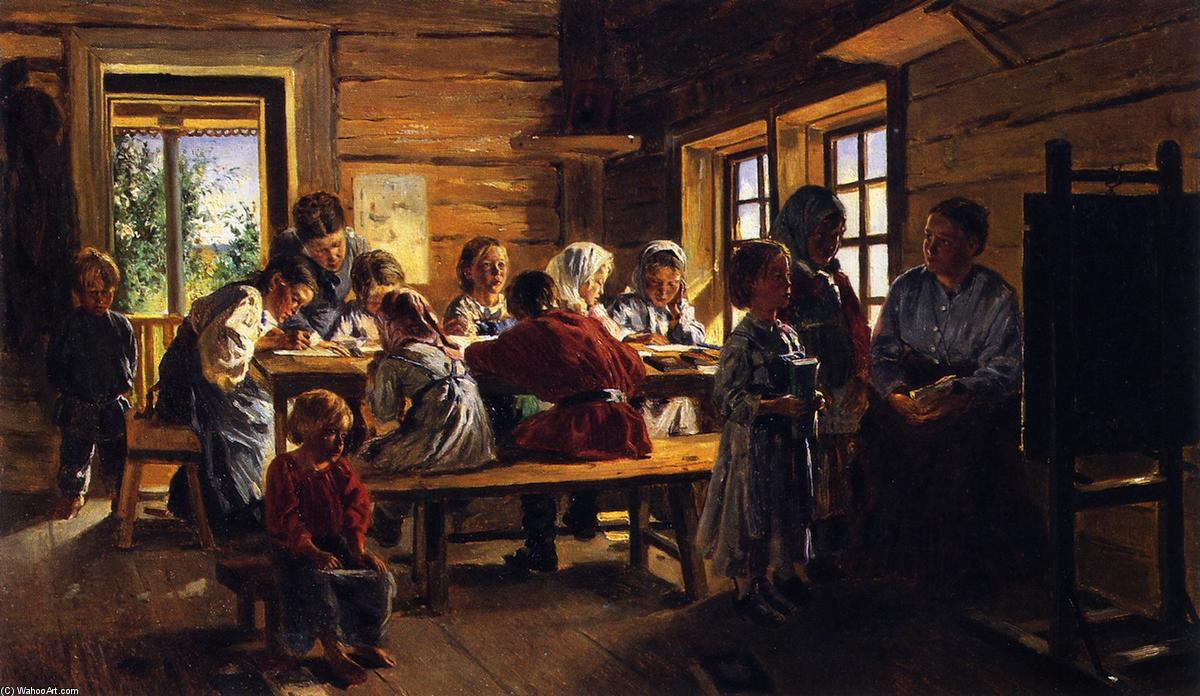 In a Country School, 1883 by Vladimir Yegorovich Makovsky (1846-1920, Russia) | Museum Quality Reproductions | ArtsDot.com