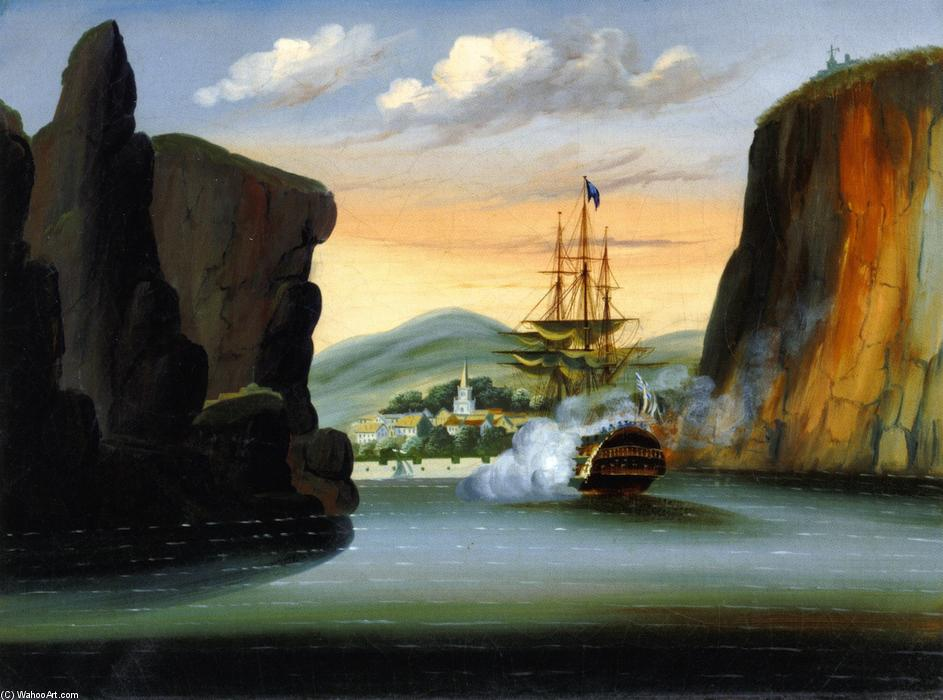 Indiaman Saluting the Island of St. Helena, Oil On Canvas by Thomas Chambers (1808-1869)
