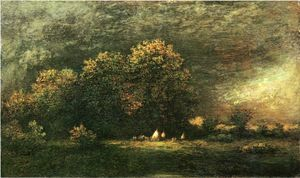 Ralph Albert Blakelock - Indian Encampment in a Stormy Landscape