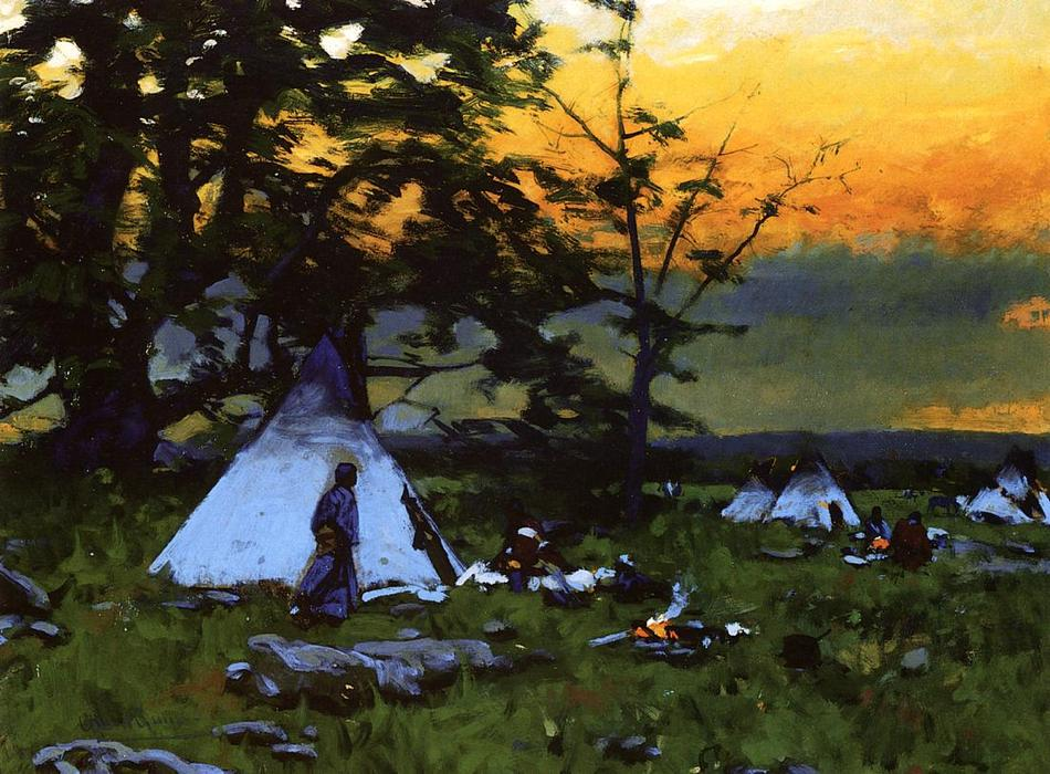 Indian Encampment, Montana by William Gilbert Gaul (1855-1919, United States) | Museum Quality Reproductions | ArtsDot.com