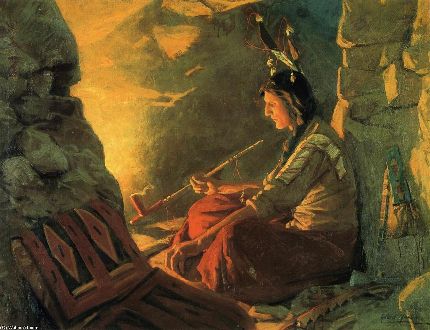 Indian Meditation, Oil On Canvas by William Gilbert Gaul (1855-1919, United States)
