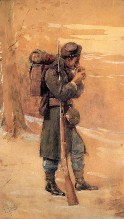 The Infantryman, Watercolour by William Gilbert Gaul (1855-1919, United States)