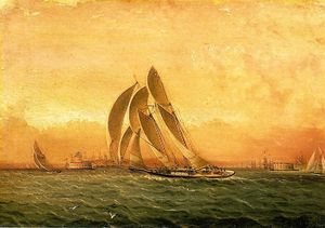 James Edward Buttersworth - In Full Sail, New York Harbor