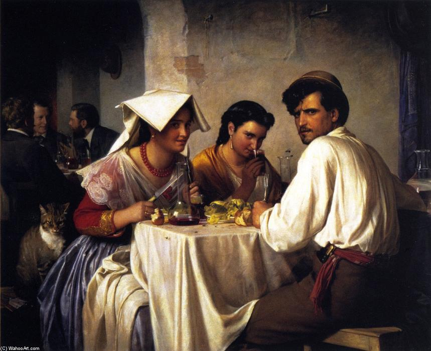 In a Roman Osteria, Oil On Canvas by Carl Heinrich Bloch (1834-1890, Denmark)
