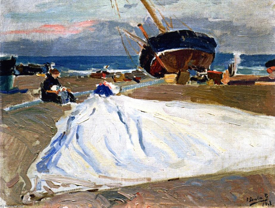 Inspecting the Sail, Oil On Canvas by Joaquin Sorolla Y Bastida (1863-1923, Spain)