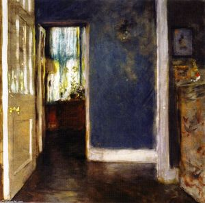 William Merritt Chase - An Interior (also known as The Green Window Curtain)