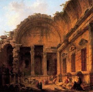 Hubert Robert - Interior of the Temple of..