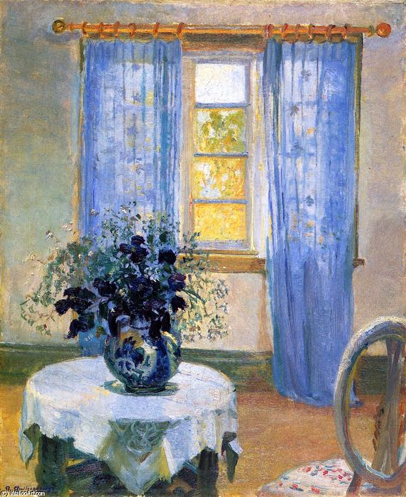 Interior with Clematis, 1913 by Anna Kirstine Ancher (1859-1935, Denmark) | Oil Painting | ArtsDot.com