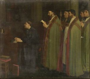 Alphonse Legros - Interior with an Organist..