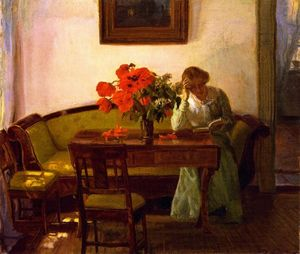 Anna Kirstine Ancher - Interior with Red Popies