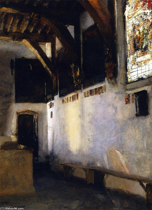Buy Museum Art Reproductions | Interior with Stained-Glass Window, 1880 by John Singer Sargent (1856-1925, Italy) | ArtsDot.com