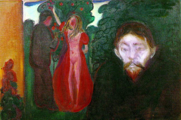 Jealousy, 1895 by Edvard Munch (1863-1944, Sweden) | Paintings Reproductions Edvard Munch | ArtsDot.com