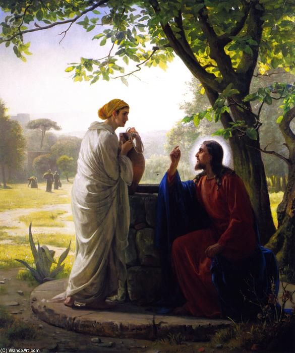 Jesus and the Samaritan Woman, Painting by Carl Heinrich Bloch (1834-1890, Denmark)