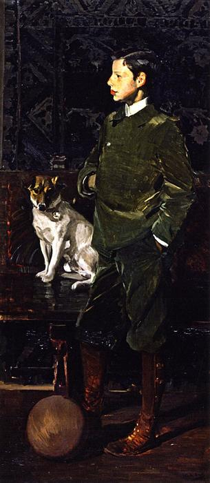 Juaquín Sorolla Garcia and His Dog, Oil On Canvas by Joaquin Sorolla Y Bastida (1863-1923, Spain)