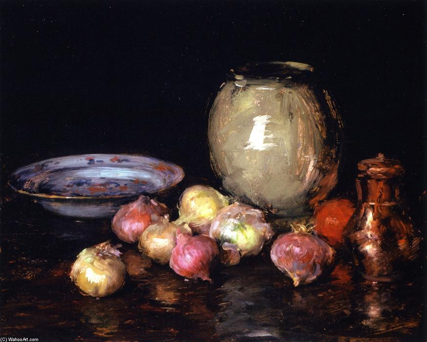 Just Onions (also known as Still LIfe - Onions, Onions), Oil On Panel by William Merritt Chase (1849-1916, United States)
