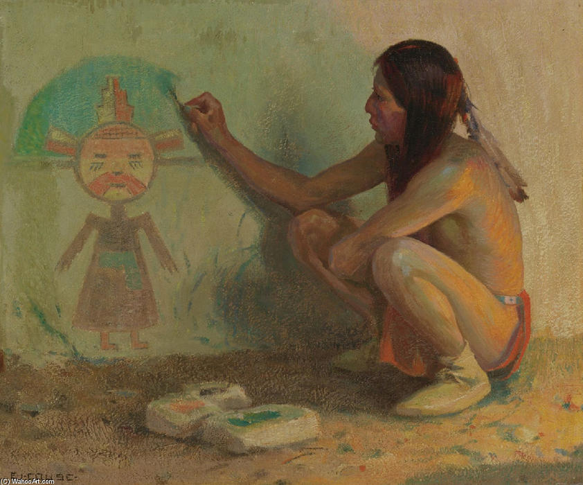 The Kachina Painter by Eanger Irving Couse (1866-1936, United States)