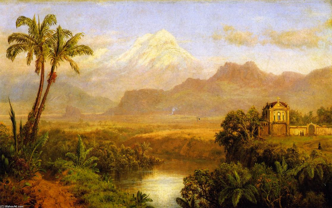 Karhuikazo, Oil On Panel by Louis Remy Mignot (1831-1870, United States)