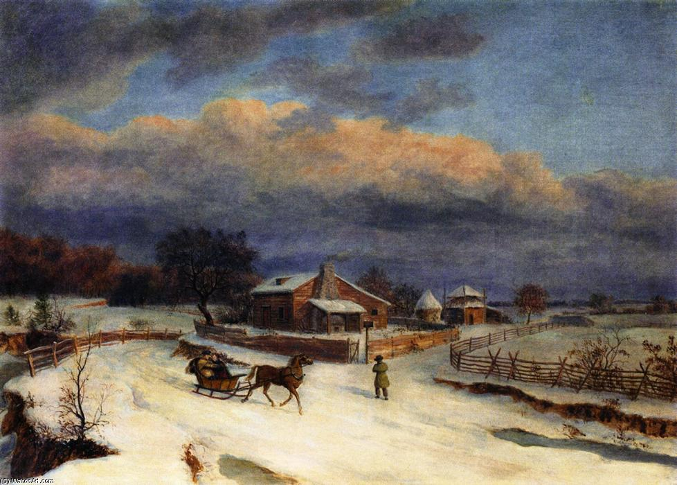 Kennett Square in Winter, Oil On Canvas by Thomas Birch (1779-1851, United Kingdom)