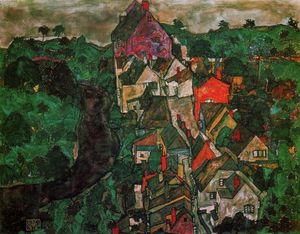 Egon Schiele - Krumau Landscape (also known as Town and River)