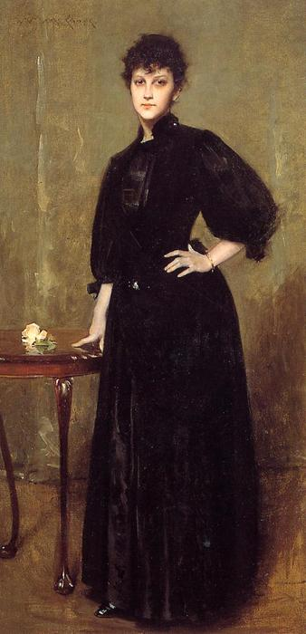 Lady in Black (also known as Mrs. Leslie Cotton), Oil On Canvas by William Merritt Chase (1849-1916, United States)