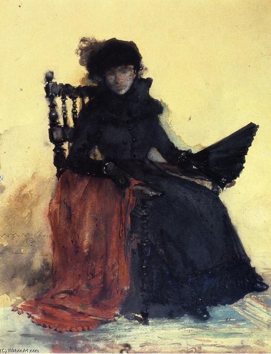 A Lady in Black (also known as The Red Shawl), Watercolour by William Merritt Chase (1849-1916, United States)