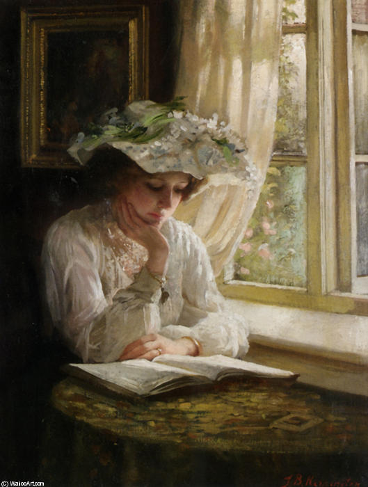 Lady Reading By A Window by Thomas Benjamin Kennington (1856-1916, United Kingdom)
