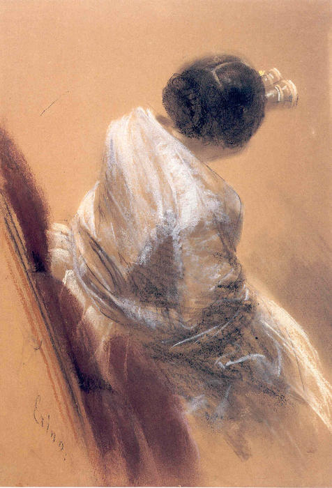 Lady with Opera Glasses, Chalk by Adolph Menzel (1815-1905, Poland)