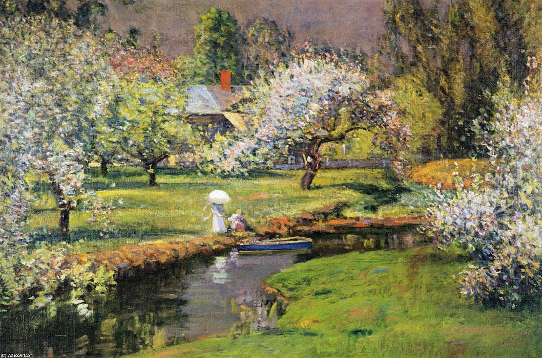 Lady with Parasol by Stream, 1905 by Theodore Wendel (1859-1932) | Art Reproduction | ArtsDot.com