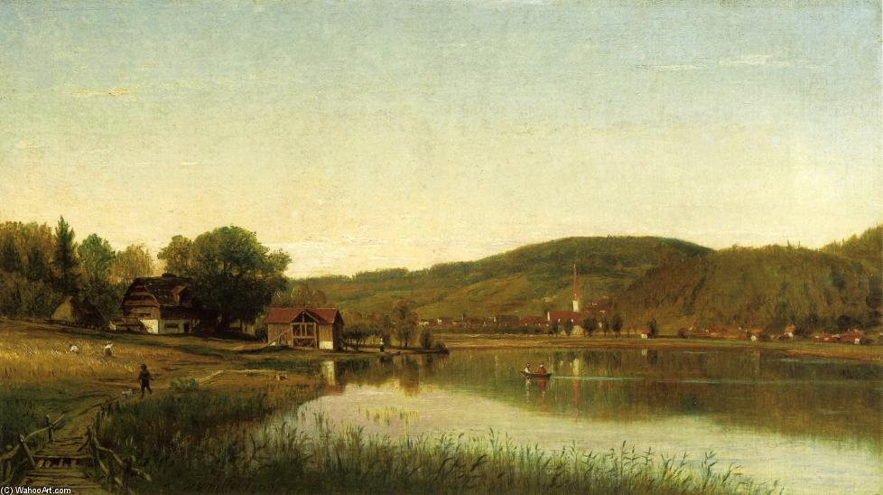 Lake Village (also known as Swiss Scene), 1860 by Thomas Worthington Whittredge (1820-1910, United States) | Museum Art Reproductions Thomas Worthington Whittredge | ArtsDot.com