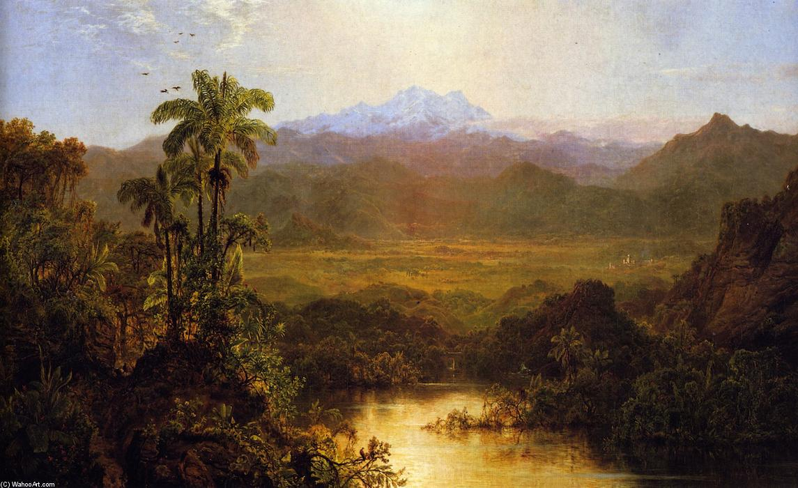 Landscape in Ecudor, Oil On Panel by Louis Remy Mignot (1831-1870, United States)