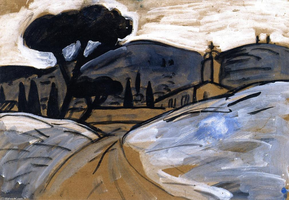 Landscape near Eygalières, Oil On Panel by Auguste Chabaud (1882-1955, France)