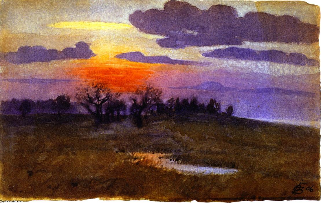 Landscape, Sunset, Watercolour by Friedrich Julius Oskar Blümner (1867-1938, Germany)
