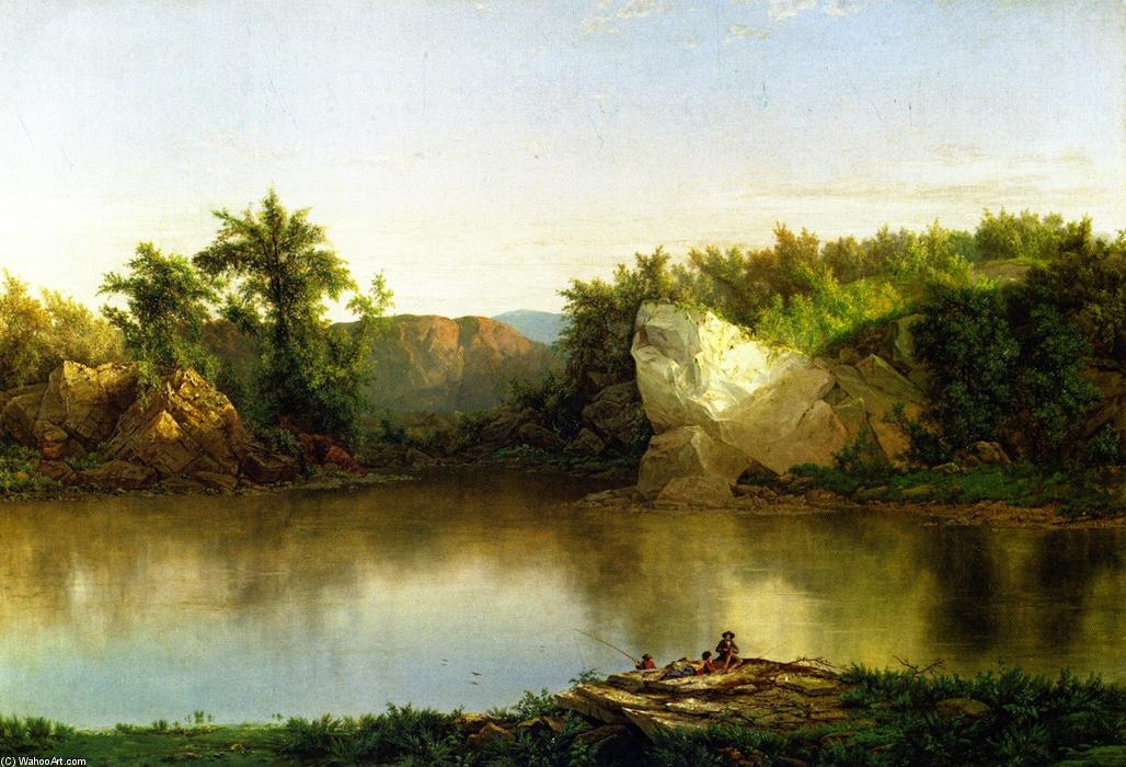 Landscape with Figures, Oil On Canvas by William Mason Brown (1828-1898, United States)