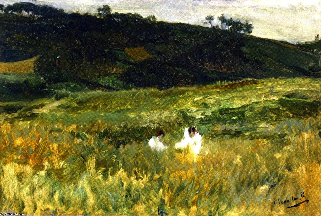 Landscape with Figures, Asturias, Oil On Panel by Joaquin Sorolla Y Bastida (1863-1923, Spain)