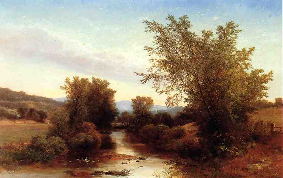 Buy Museum Art Reproductions : Landscape with Footbridge, 1863 by Albert Fitch Bellows (1829-1883, United States) | ArtsDot.com