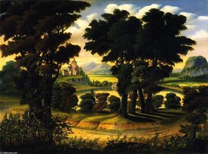 Thomas Chambers - Landscape with Lake and Monast..