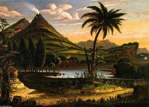 Thomas Chambers - Landscape with Mount Vesuvius