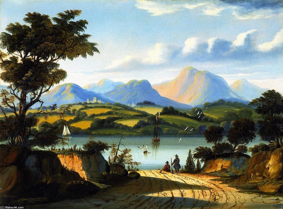 Landscape with a Road Leading to Water, Oil On Canvas by Thomas Chambers (1808-1869)
