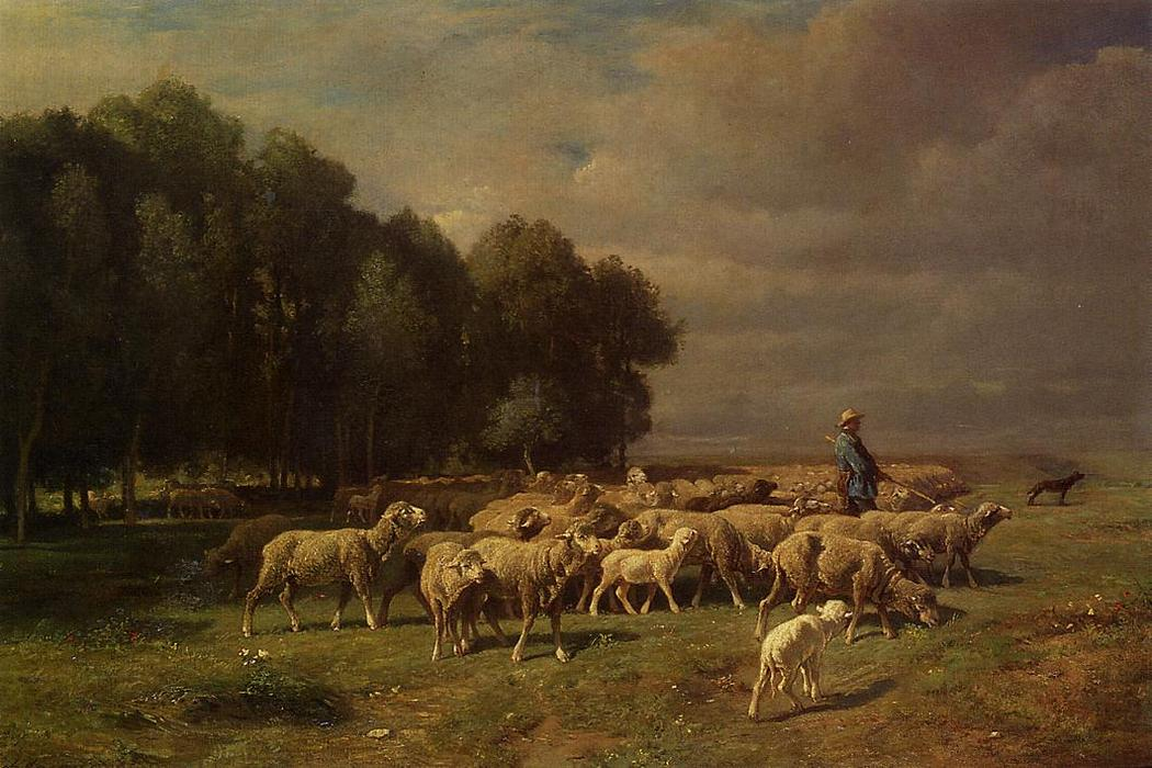The Large Flock, Oil On Canvas by Charles Émile Jacque (1813-1894, France)