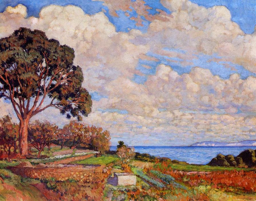 Large Tree near the Sea, Oil On Canvas by Theo Van Rysselberghe (1862-1926, Belgium)