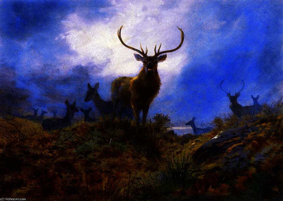 The Last Chance before Dark, Watercolour by Archibald Thorburn (1860-1935, United Kingdom)