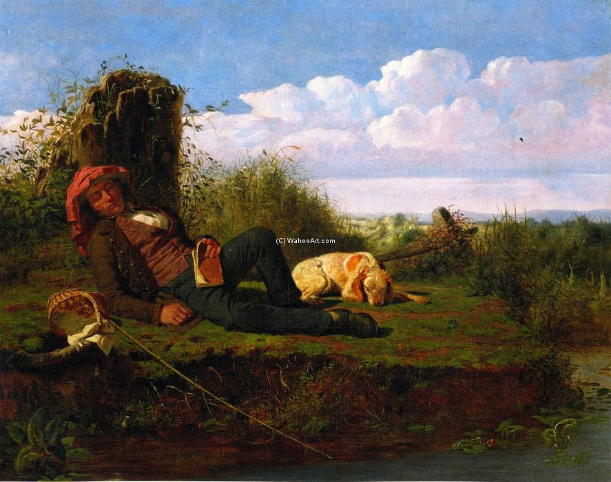 The Lazy Fisherman, 1850 by William Tylee Ranney (1813-1857, United States) | Oil Painting | ArtsDot.com