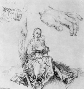 Albrecht Durer - Study sheet with Madonna and child, hand and sleeve