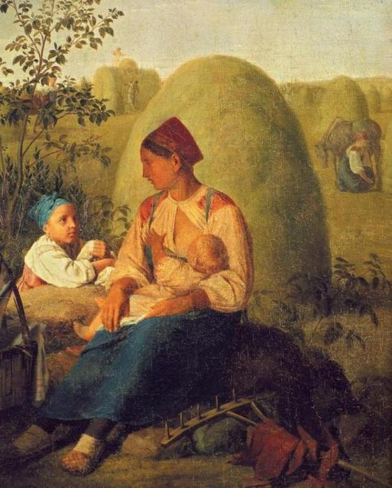 Haymaking, Oil On Canvas by Alexey Venetsianov (1780-1847, Russia)