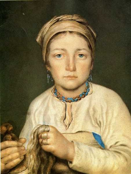 A Peasant Woman, Combing Flax (Anisia), 1822 by Alexey Venetsianov (1780-1847, Russia)